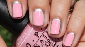 3 cách sơn móng hồng viền bạc đáng yêu