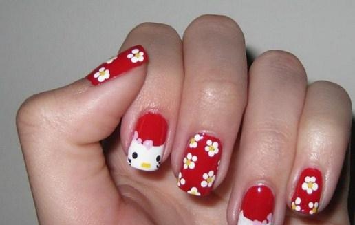 floral-funny-cartoons-pink-colorful-polka-dot-cute-hello-kitty-nail-polish-art-designs-33-cute-nail-polish-designs-Copy