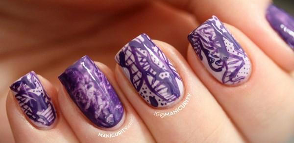monochrome-purple-freehand-skittle-nails-saran-wrap-urban-outfitters-camo-nail-art-1-Copy