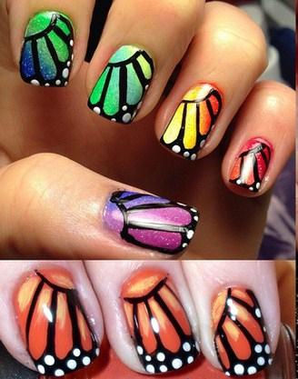 embedded_Monarch_butterfly_wings_nail_art_ideas7