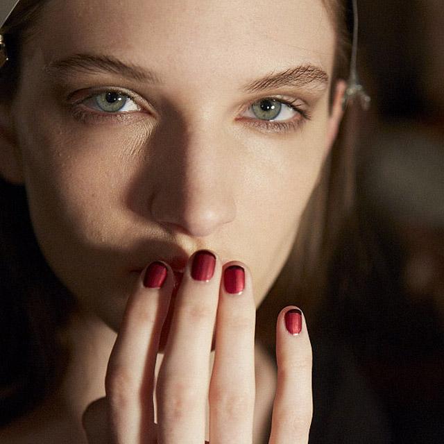 Dark-red-matte-French-nails-by-Essie-for-Wes-Gordon