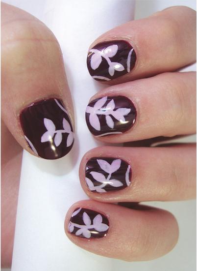 Nail-Art-Tutorial-Purple-Leaves-Nails