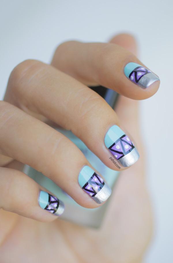nail-art-graphique-mint-et-lavande2
