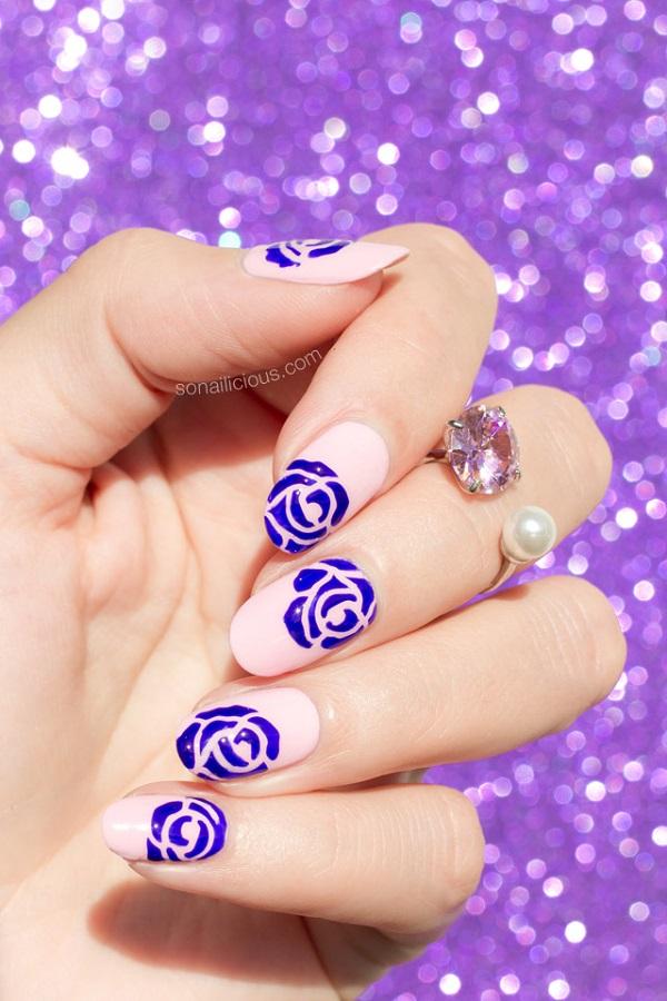 pink-roses-nail-art