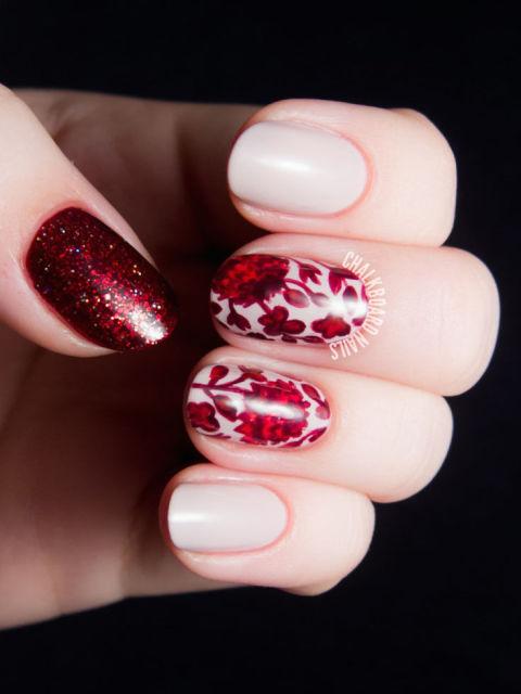 ruby-floral-print-glitter-nail-art