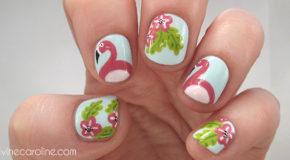 Vẽ Nail Chim Hồng Hạc Trong Vườn Hoa