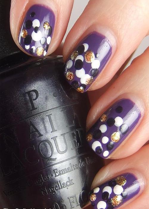 Beautiful-Purple-Nail-Art-Idea-with-Cute-Polka-Dots