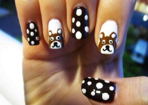 Brown-Bear-and-White-Polka-Dots-Cute-Nail-Designs-for-Short-Nails (Copy)