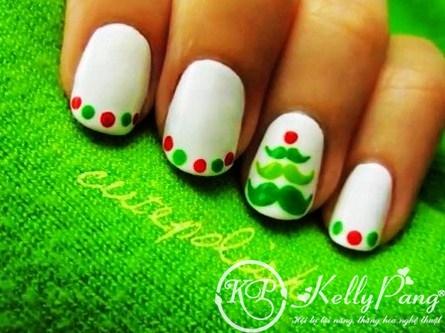 christmas tree nail art for short nails - cute christmas nail art design for short nails-f02732 (Copy)