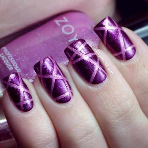 nail_art_design_purple_pink_stripes_zoya