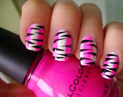 pink-black-white-zebra-nails