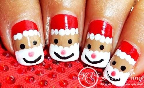 santa christmas nail art design for short nails - cute christmas nail art for short nails-f58568 (Copy)